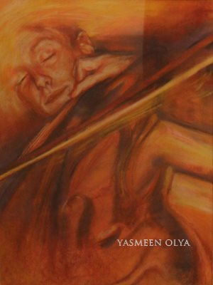 yasmeen amina olya art, Davin Lewis Cello Portraite, Chalk on Paper